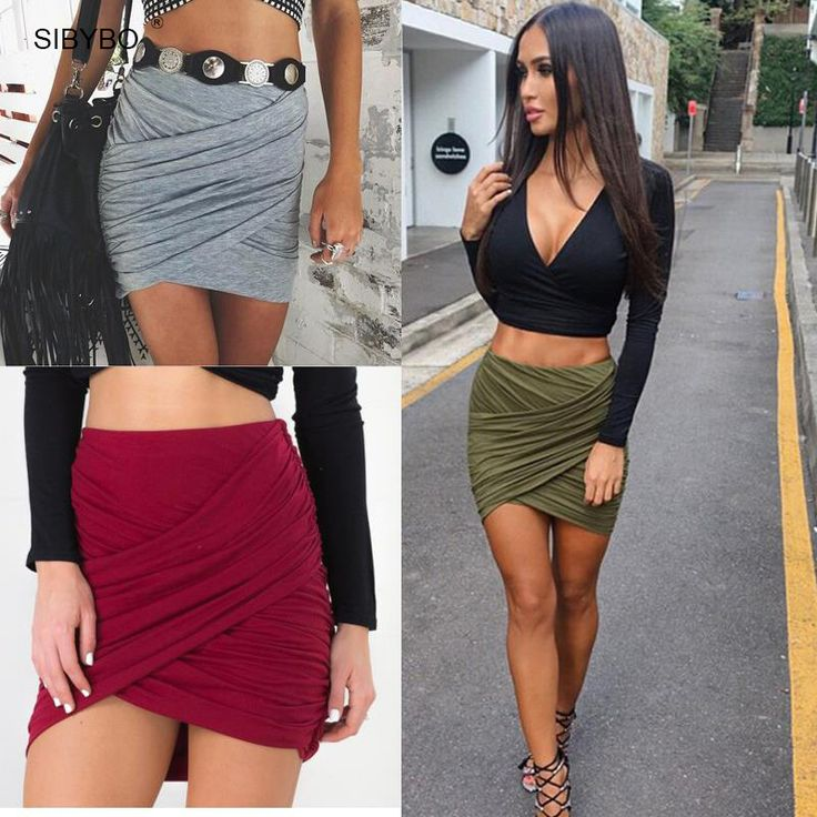 2016 American Apparel Street Fashion Femmes Lady Taille Haute Jupe Courte Sexy Bandage Moulante Croix Fold Crayon Jupes 5 Couleurs