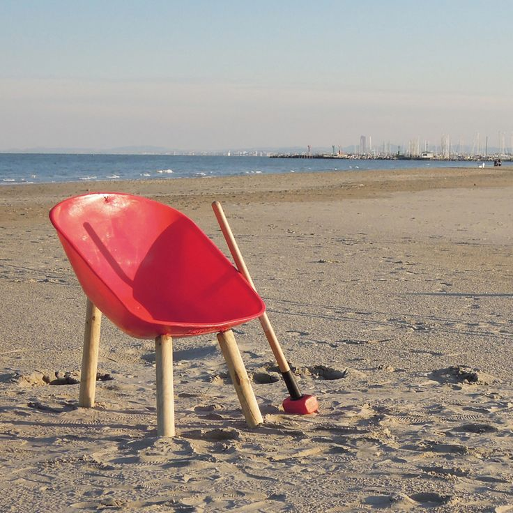 Recession Design made a chair out of a wheelbarrow and some wooden sticks - pretty cool and helpful when you go to the beach...