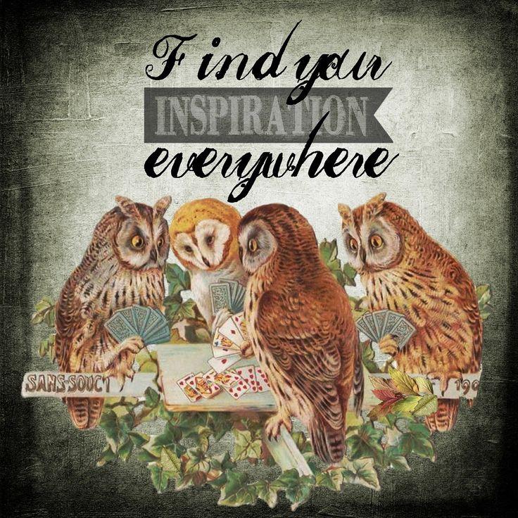 Ispirazione, Gufi, Animale, Sfondo, Vintage, Modello