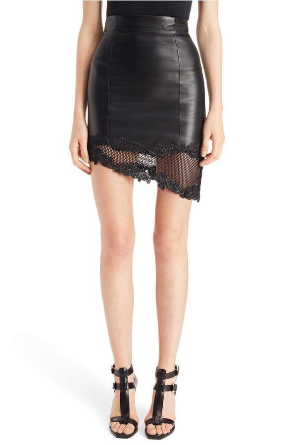 Main Image - Balmain Lace Hem Lambskin Leather Miniskirt $1995