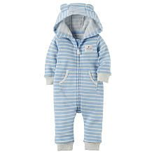 Carters Blue/Grey Striped Zip Up Hooded Coverall