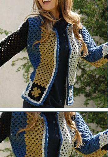 """Love this """"Joplin Jacket""""! - free pattern in Spanish with diagrams!"""
