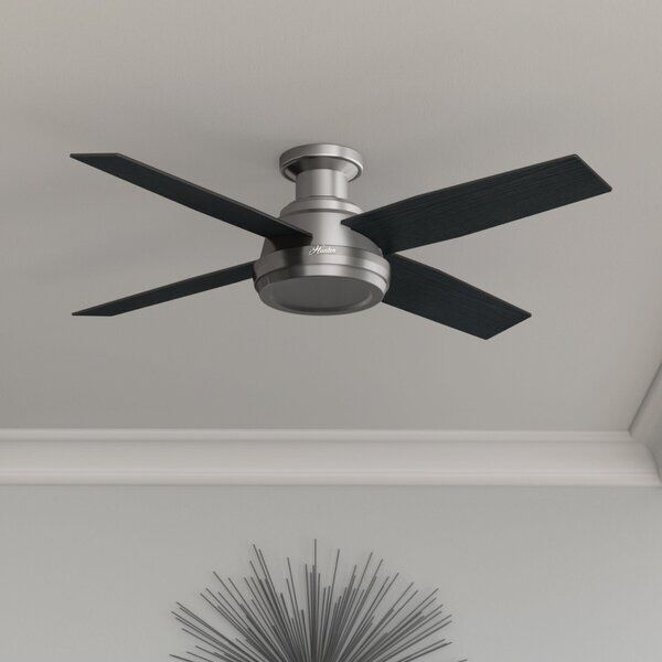 46 Anslee 5 Blade Led Flush Mount Ceiling Fan With Pull Chain And Light Kit Included Ceiling Fan With Light Silver Ceiling Fan Ceiling Fan