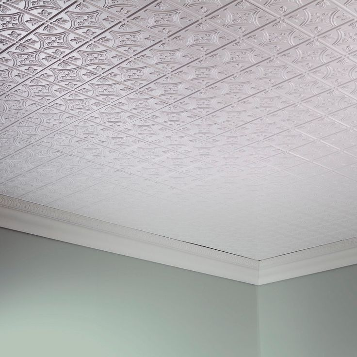 Fasade Traditional Style #1 Gloss White 2-foot x 4-foot Glue-up Ceiling Tile (Sample - 12in x 12in), Size 12 x 12