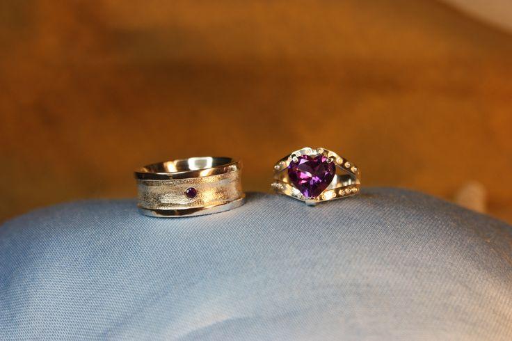 Wedding rings. Silver 925, Amethyst. Handmade by Goldsmith Sanna Hytönen, Finland. http://www.kultaseppasannahytonen.com/