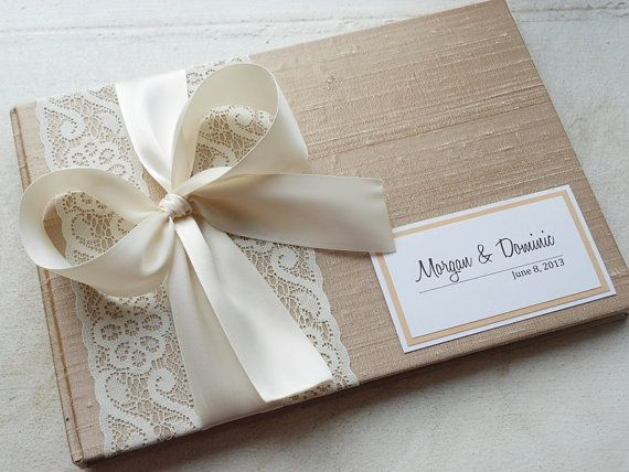 Champagne Wedding Guest Book You Choose Bow Color and Page Layout (made to order) on Etsy, $47.69 AUD
