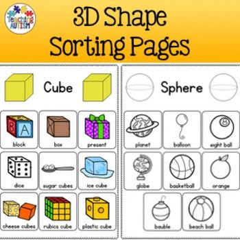 This resource contains 6 different 3D Shape pages for students to match different regular objects to the matching shapes.Shapes included are: Cone Cube Cylinder Pyramid Sphere Triangular PrismSome shapes come with 9 shape images to match, others come with fewer - ranging between 6-9.You can either use this as a re-usable activity where you laminate it all and use velcro or it can be used as a worksheet for students to cut and stick.