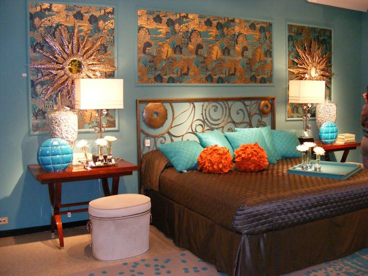 Bedroom Decorations. Wondrous Teal Bedrooms Decor And Design Tips: Chic Teal Cushions And Brown Covering Queen Beds As Well As Cool Wall Deals And Double Bedside Desk Lamps In Modern Teal Bedrooms Designs
