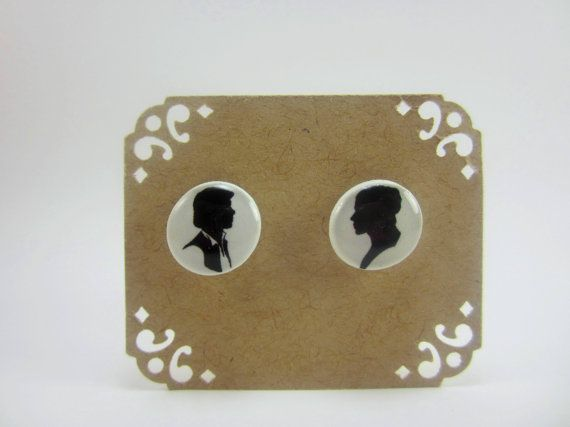 Star Wars Hans Solo, Princes Leia Silhouette Stud Post Earrings via Etsy