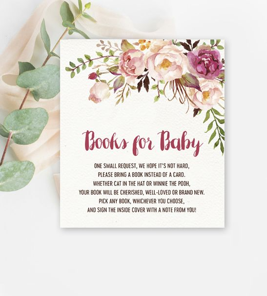 Books for Baby Baby Shower Insert – Vintage Mauve Pink Peach Watercolor Flowers – Printable Instant Download