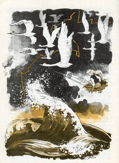 The Wild Swans -- Vladimir Petrovich Panov -- Fairytale Illustration