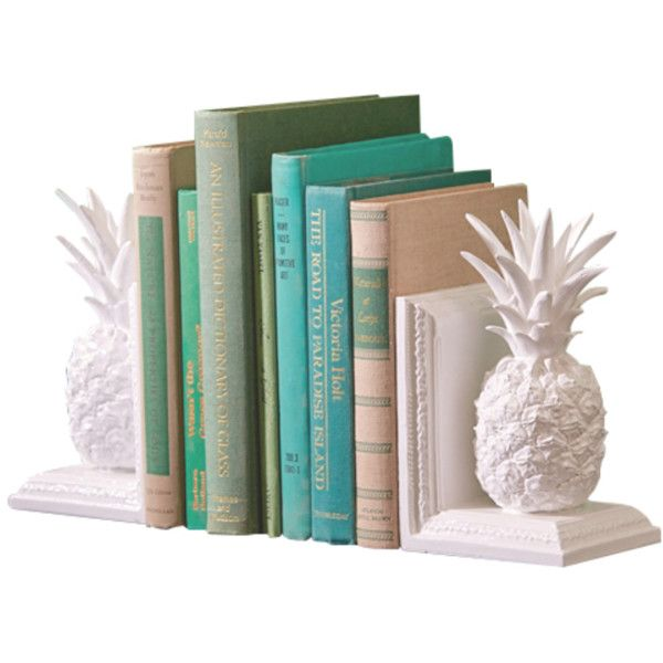 PINEAPPLE BOOKENDS (180 BRL) found on Polyvore featuring home, home decor, small item storage, decor, books, filler, book shelf, white home decor, white bookshelves and book shelves