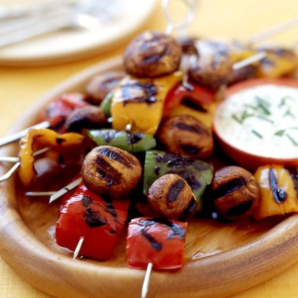 Getting tired of plain grilled vegetables? These veggie kabobs with garlic-dill infused yogurt dip are miles from ordinary. Plus, they're 0 SmartPoints per serving