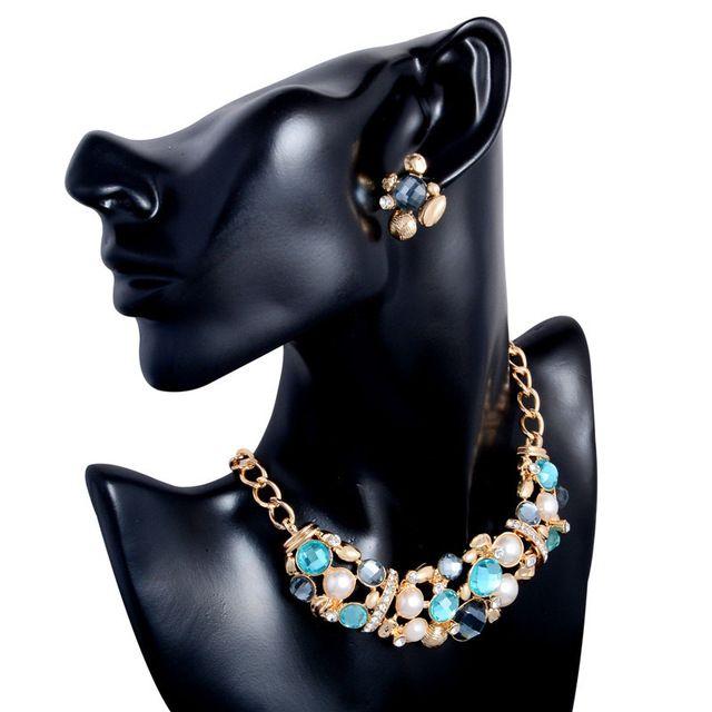 Nuovo modo di arrivo insieme dei monili perla simulata classico dichiarazione di design collana + orecchini per festa di nozze