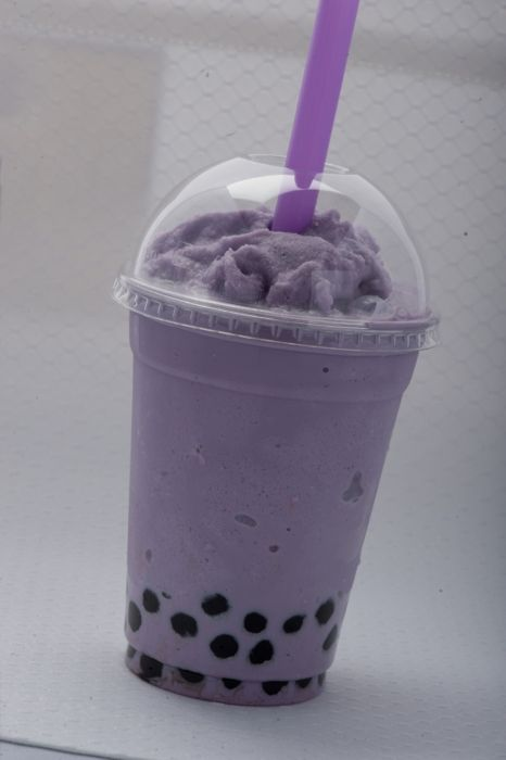 Boboa tea, used to get that every other day. This is Taro, but milk tea is my favorite!