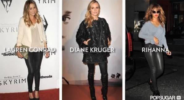 Кожаные черные брюки женские