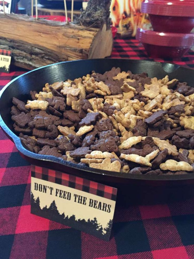Teddy grahams at a lumberjack birthday party! See more party ideas at CatchMyParty.com!