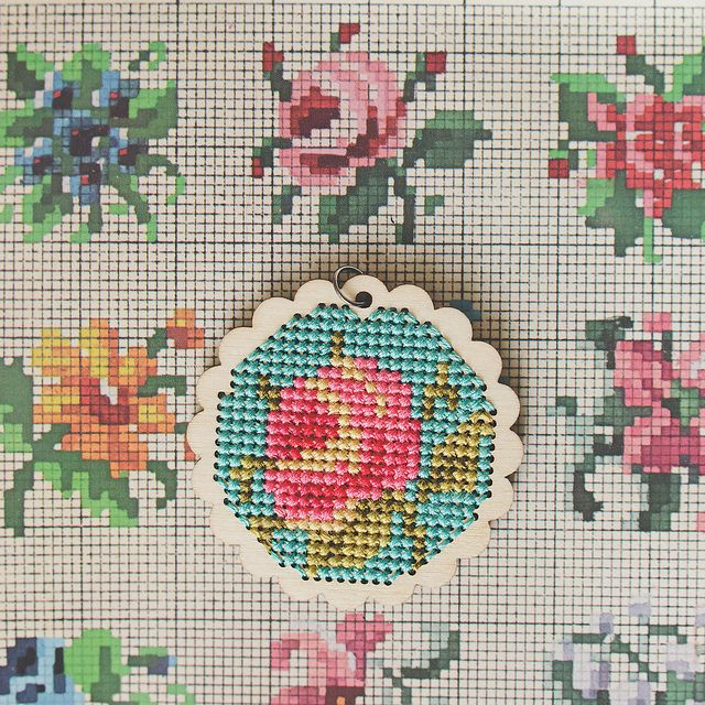 Cross stitch floral pendant