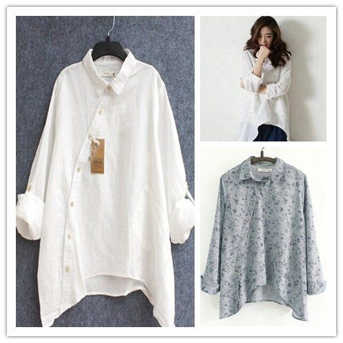 2015 New Women Shirt Cotton Linen Slant Oblique Button White Blue Floral Turn-down Collar Irregular Plus Size Solid Loose Blouse