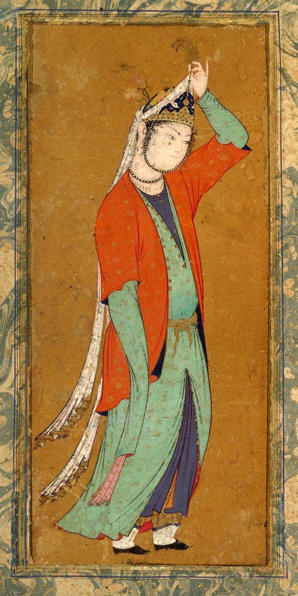 A woman adjusts her aigrette by Muhammad Sadiqi,c. 1590