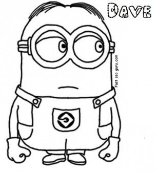 Print Out Dave The Minion Despicable Me 2 Coloring Pages
