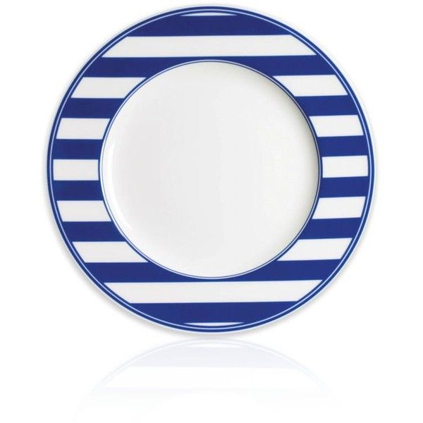Caskata Blue Beach Towel Stripe Rimmed Salad Plate (€27) ❤ liked on Polyvore featuring home, kitchen & dining, dinnerware, blue, stripe dinnerware, striped dinnerware, blue salad plates, blue dinnerware and caskata