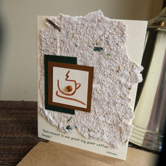 40 best retired cards images on pinterest retirement cards happy handmade retirement greeting card with coffee cup and handmade paper m4hsunfo