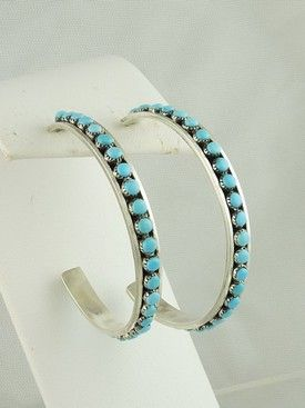 Sterling Silver Turquoise Hoop Earrings - Zuni for $259.00 | Native American Jewelry