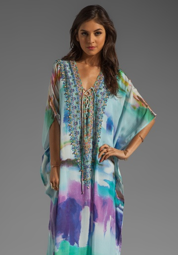 CAMILLA Long Lace Up Kaftan in Craving A Patch of Green at Revolve Clothing - Free Shipping!