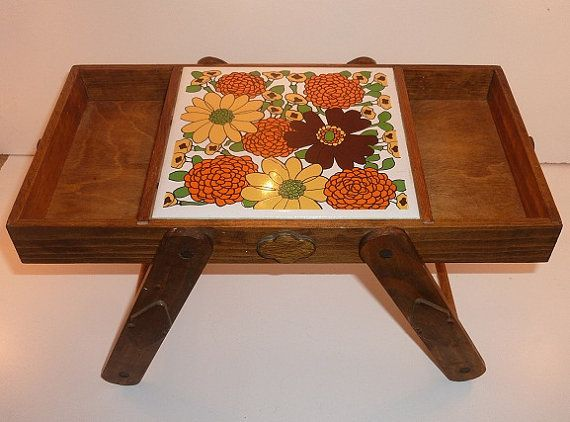 Serving Tray Tile Wooden Foldable 70s Kitchen by thecheekyzebu, $13.00