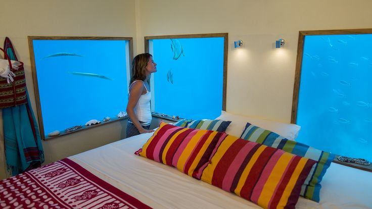 Immersed in the Indian Ocean, the underwater room at Manta Resort makes for a truly mind-blowing sleeping experience.