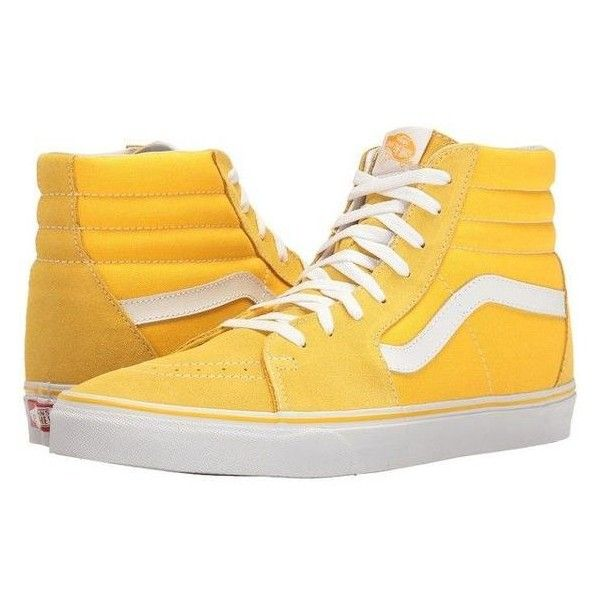 8b14c35874 Vans SK8-Hi Suede Canvas) Spectra Yellow True White) Skate Shoes ❤ liked on  Polyvore featuring shoes