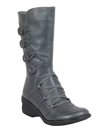 Another great find on #zulily! Gray Olson Button-Embellished Leather Boot #zulilyfinds