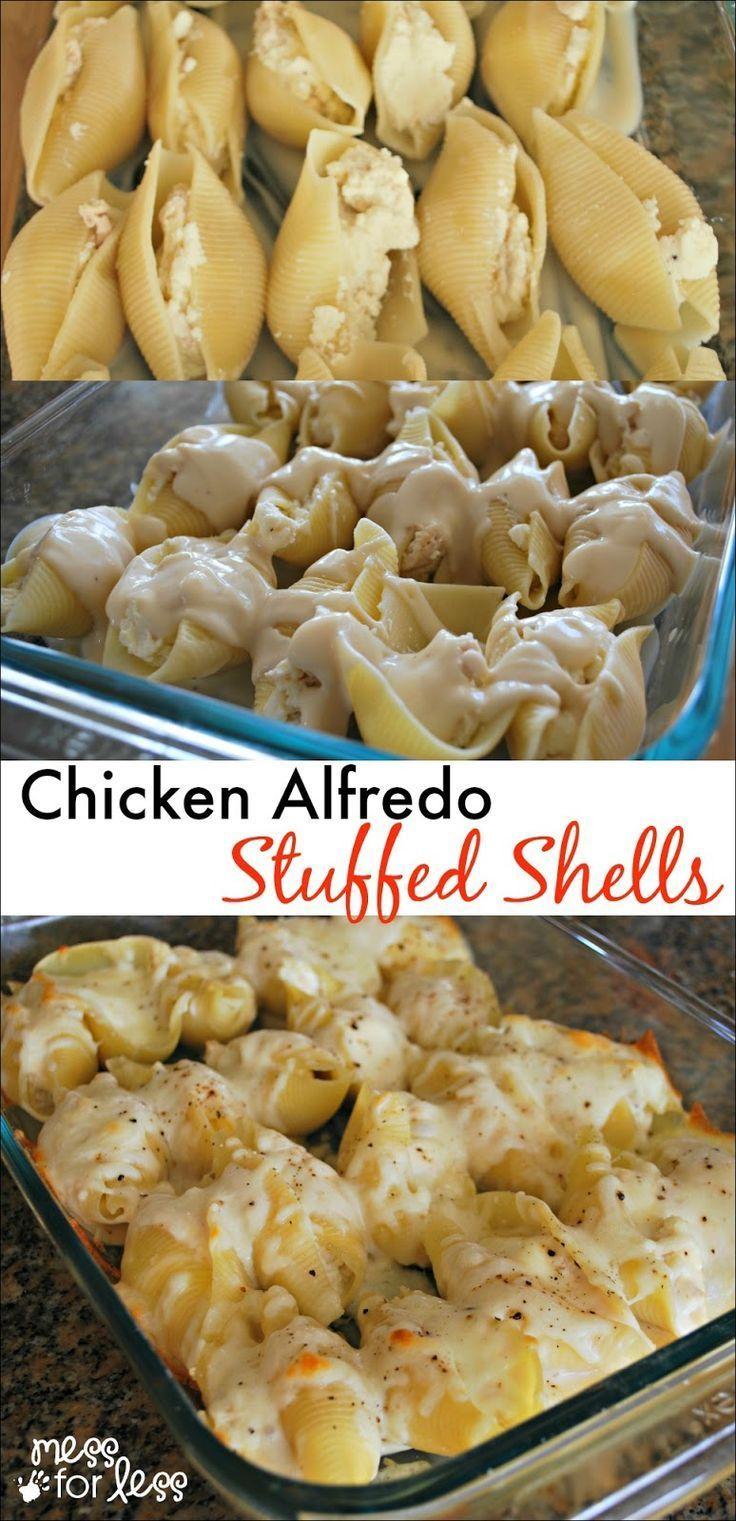 Chicken Alfredo Stuffed Shells - Yummy twist on traditional stuffed shells recipe. Comfort food at its best!