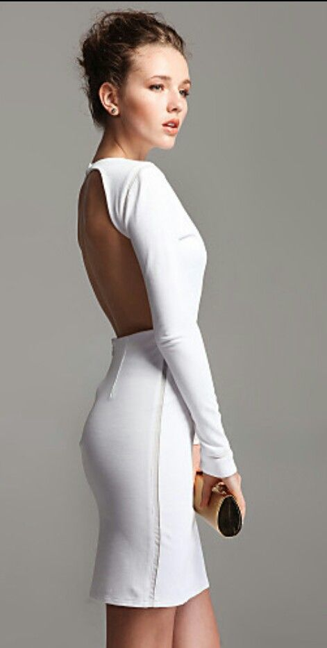 White long sleeve backless dress | Things I love - Fashion ...
