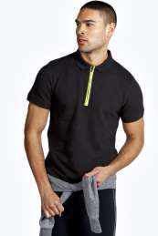 BoohooMAN Sport Neon Zip Fasten Polo  from Boohoo on discounted prices, use promo and discount codes.