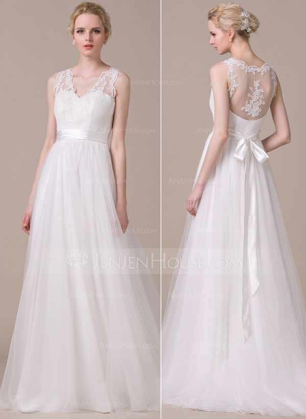 A-Line/Princess V-neck Sweep Train Appliques Lace Bow(s) Zipper Up at Side Regular Straps Sleeveless Beach General Plus No Spring Summer Fall Ivory Tulle Wedding Dress