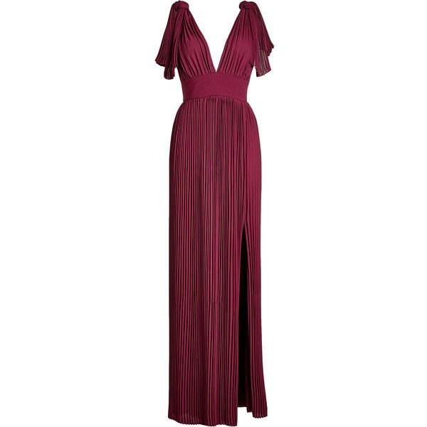 Elie Saab Pleated Floor Length Dress ($1,520) ❤ liked on Polyvore featuring dresses, gowns, gown, purple, pleated evening dresses, slit gown, elie saab evening dresses, purple ball gowns and purple dresses