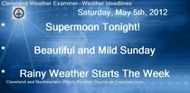 Cleveland Weather Examiner Forecast For Cleveland For May 6th and 7th, 2012 is available on Examiner.com.  David will be taking a much needed overnight vacation to Kalahari in Sandusky.  I will provide the forecast for both days.  Read all about tonight's supermoon, tomorrow's forecast, and Monday's forecast.