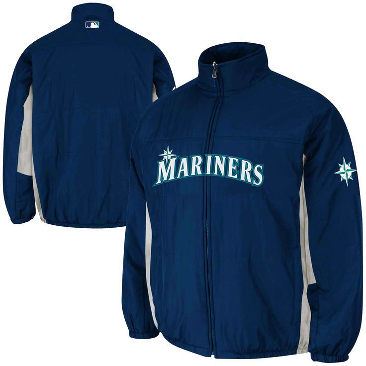 Seattle Mariners Majestic 2015 Authentic On-Field Double Climate Full Zip Jacket – Navy Blue - $134.99