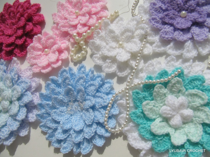 Perfect 3 Layer Crochet Flower Pattern Component Easy Scarf