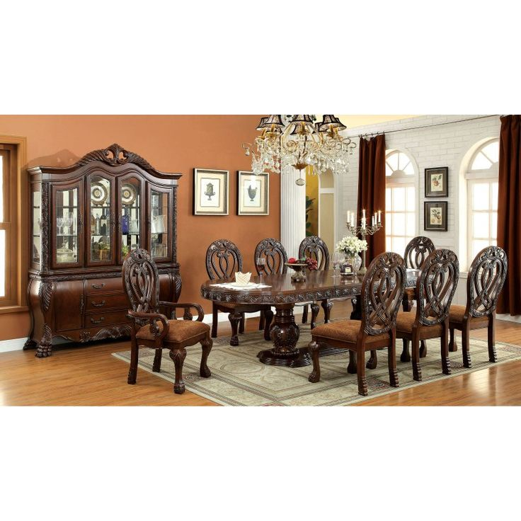Furniture of America Grandberry Traditional 9 Piece Dining Table Set - Cherry - IDF-3186CH-T-9PC