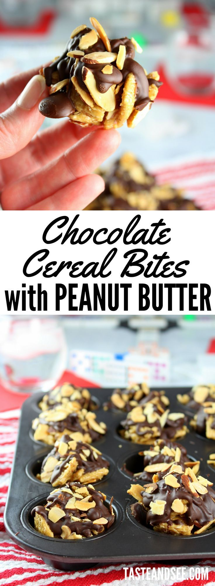 Chocolate Cereal Bites with Peanut Butter = the winning recipe for an after-school snack or a fun family game night!