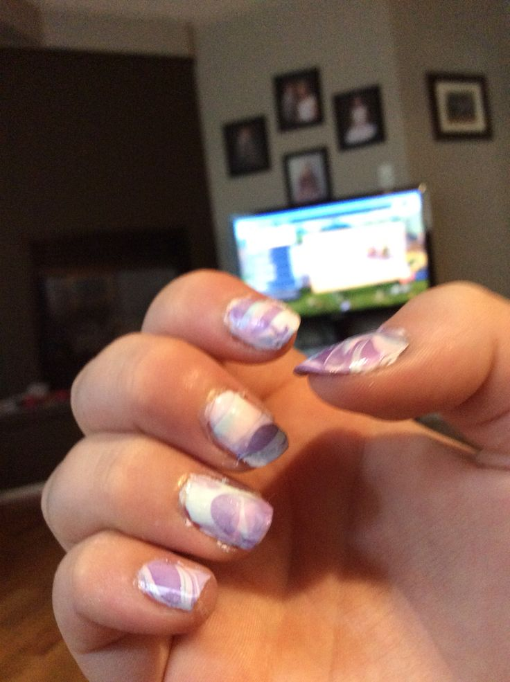 Did some water marble nail art