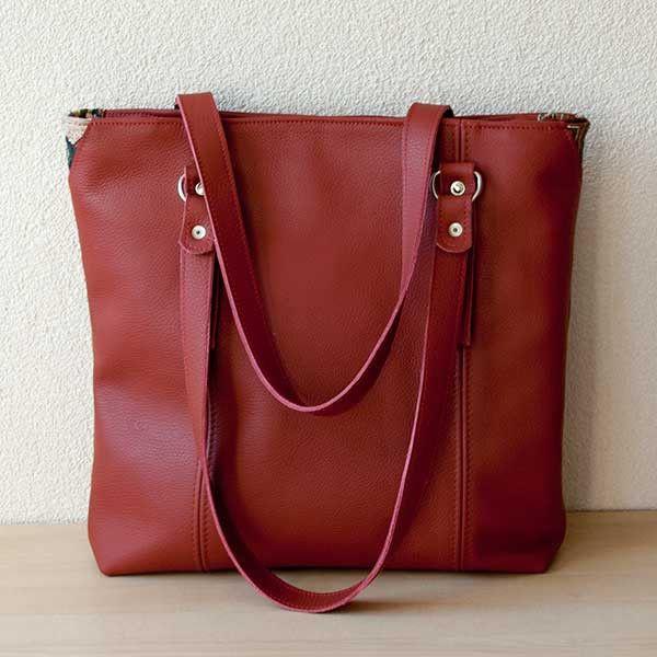 "Red leather laptopbag, handmade from reused leather. 13"" laptopbag for women."