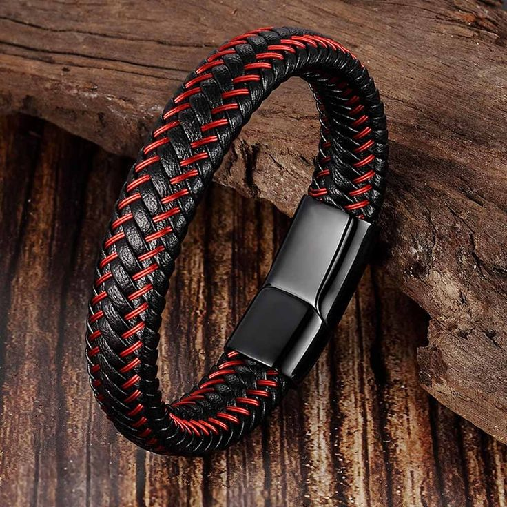 Who likes it? WOW  Trendy Men Jewelry Red Braided Leather Rope Bracelet Black Ma…   – Men's Jewellery