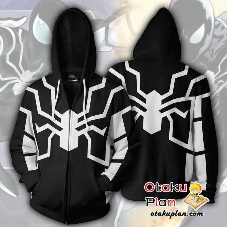 Spiderman Future Foundation Spiderman Black Zip Up Hoodie Jacket - Spiderman 3D Zip Up Hoodies And Clothing  #animeart #merchandise #anime #stuff #animeboy #animelover #comic
