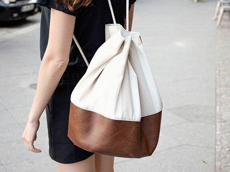 Kostenlose Nähanleitung: Maritimen Seesack mit Kunstleder nähen / free diy sewing tutorial: how to sew a duffle bag via DaWanda.com