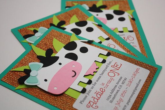 Handmade Farm Animal Birthday Party Invitations – 10 Invites & 10 Envelopes - Barnyard Cow w/ Aqua Bow - Girl First Decoration – CUSTOM