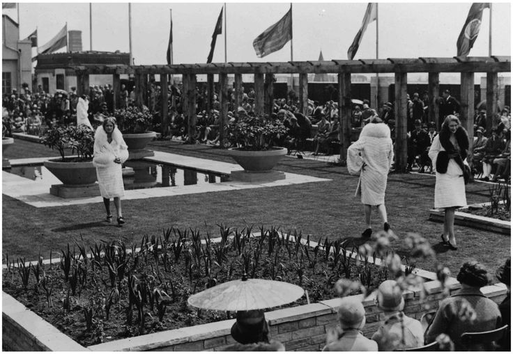 Customers enjoy a fashion show on Selfridges roof in the late 1920s
